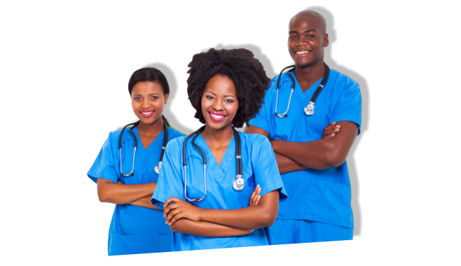 three nurse wearing blue